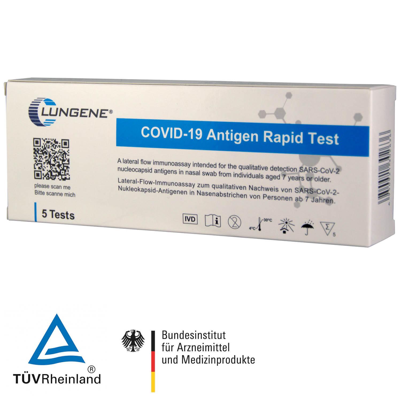 Corona Schnelltest zur Eigenanwendung, Antigen-Laien-Nasentest, Clungene 5er Box, Preis bezieht sich auf 1 Test