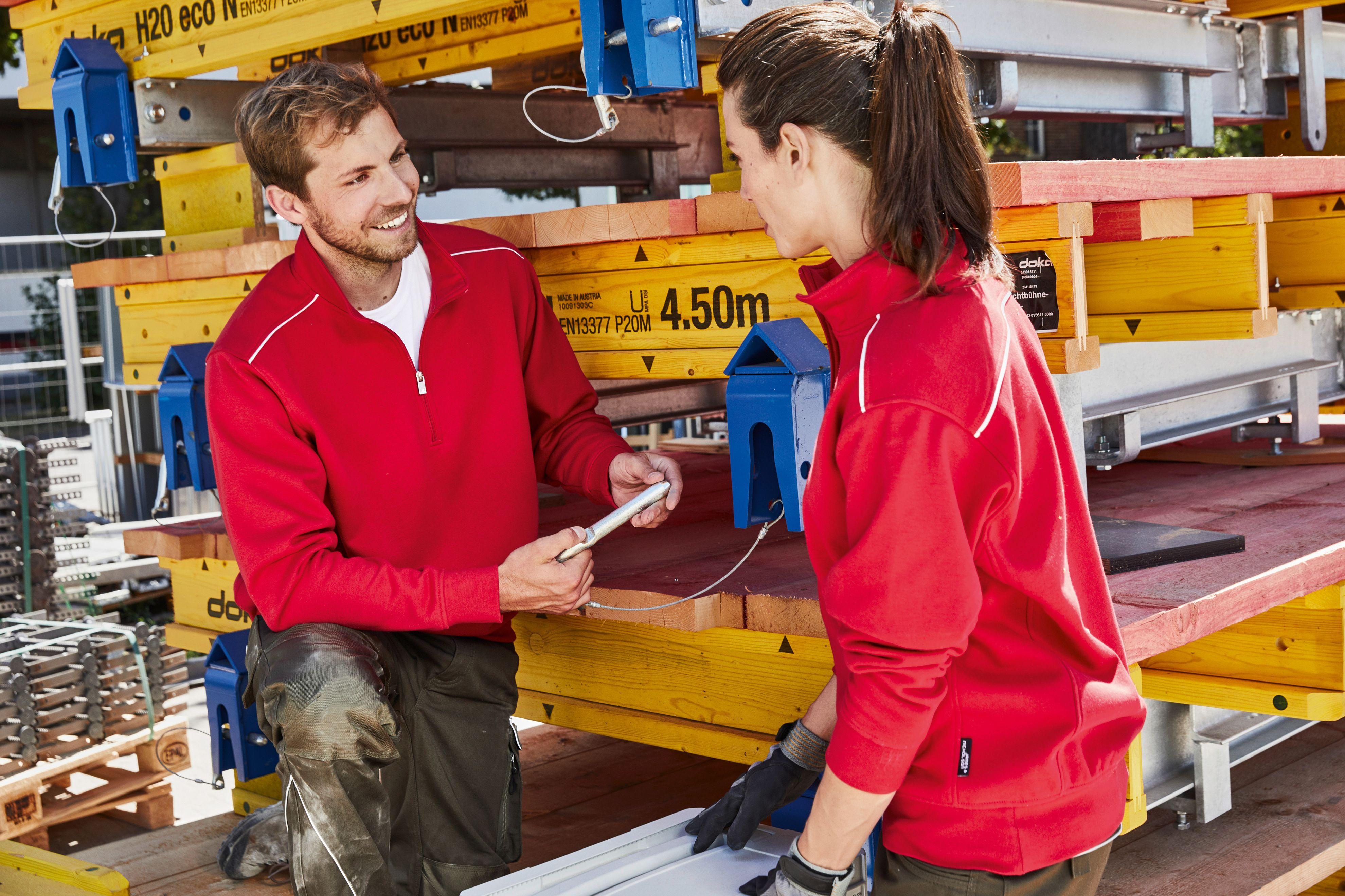 Arbeitssweatshirt mit Stehkragen und Reißverschluss, Kontrastpaspel