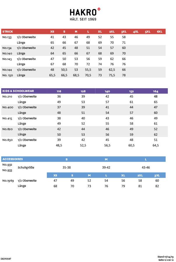 Hakro Größentabellen für Strick, Kids & Schoolwear und Accessoires
