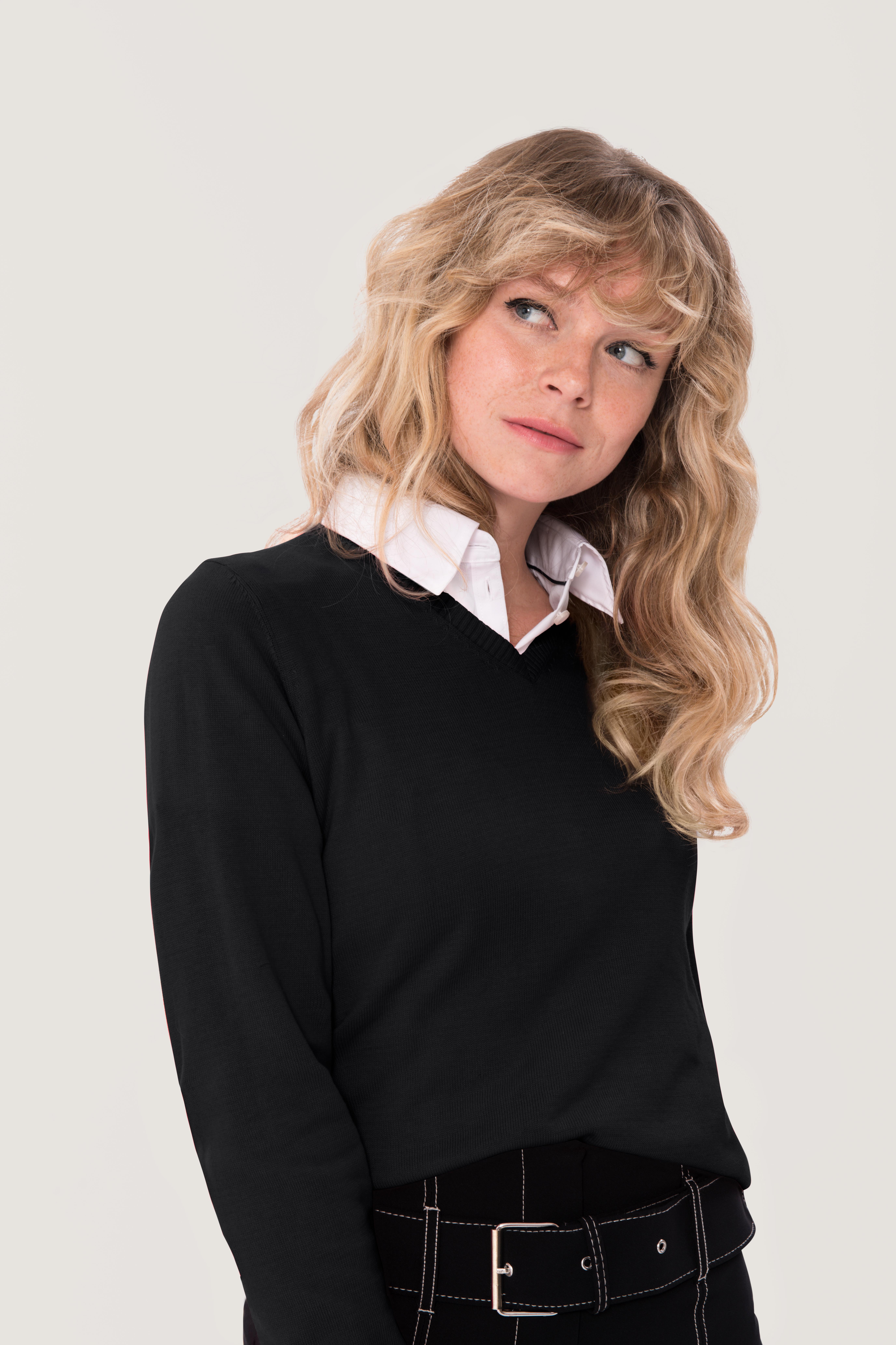 Damen-V-Pullover Premium-Cotton HAKRO NO. 133