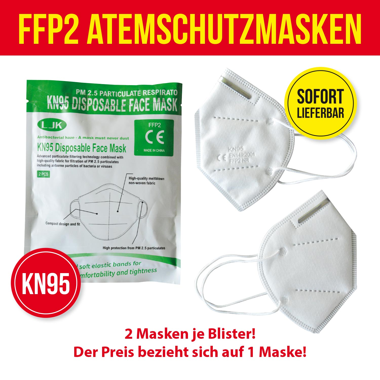 """FFP2-Schutzmaske KN95 """"weiß"""", 2er Blister"""