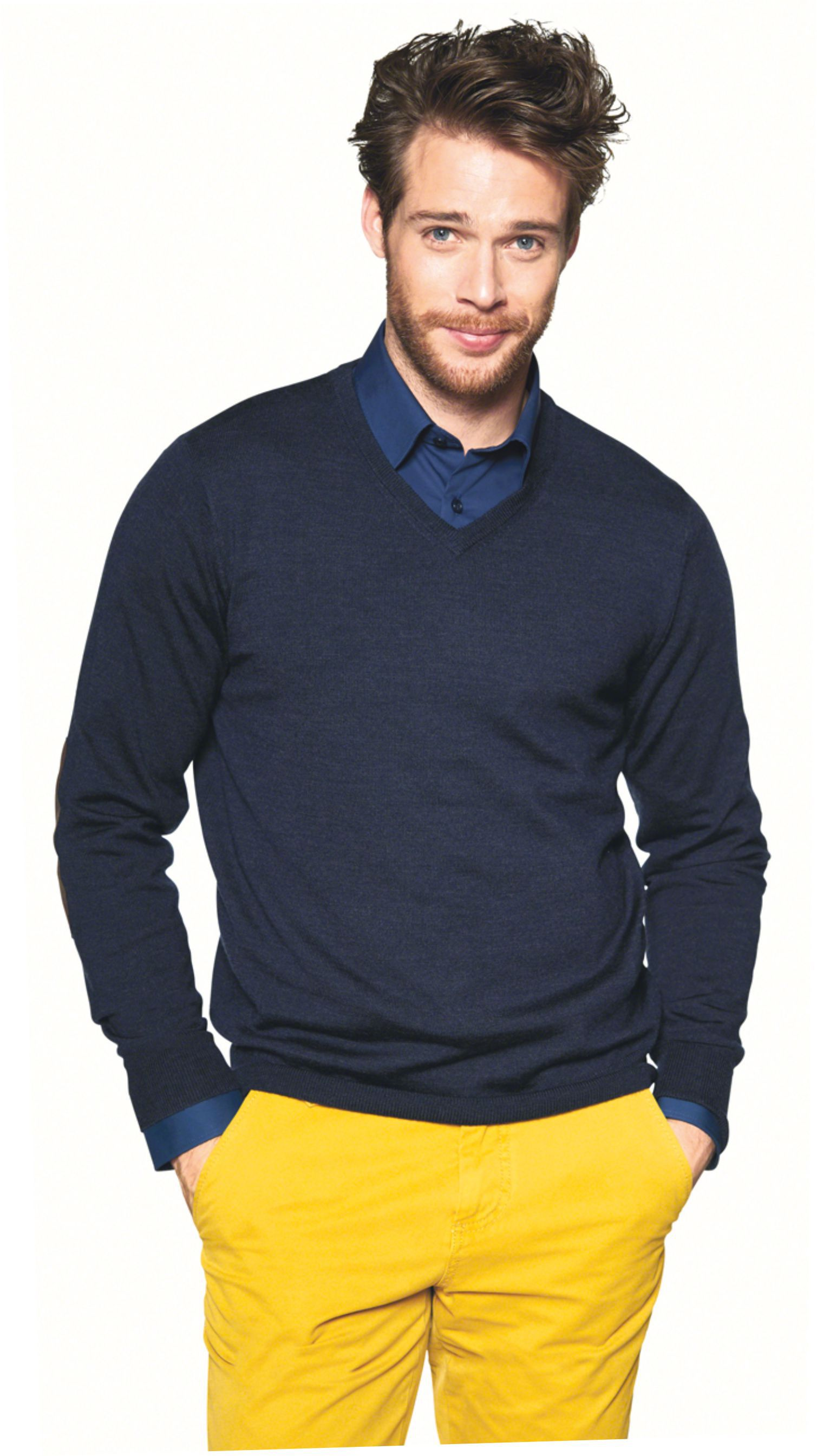 Herren V-Pullover aus Merino Wolle